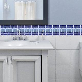 SomerTile 13.125x11.5-in Modena Cobalt Blue Porcelain Mosaic Tile (Pack of 10)