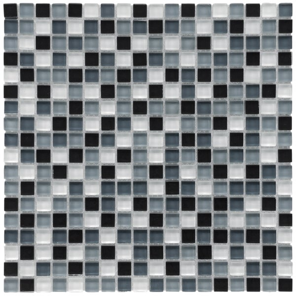 SomerTile 12x12-in Reflections Mini 5/8-in Night Glass Mosaic Tile (Pack of 10)