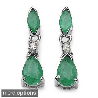 Malaika 14k White Gold Gemstone and Diamond Earrings