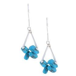 Glitzy Rocks Sterling Silver Turquoise Chip Earrings