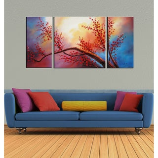 'Plum Blossom' Hand-painted Oil Art Set