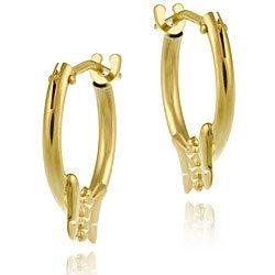 Mondevio 10k Gold 11 mm Mini Butterfly Hoop Earrings