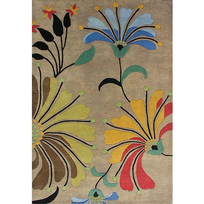 Hand-tufted Metro Flower Beige Wool Rug (8' x 10')