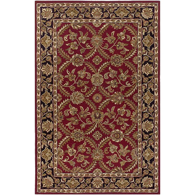 Hand-tufted Mandara a Red New Zealand Wool Rug (7'9 x 10'6)