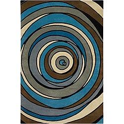 Hand-Tufted Modern Mandara New Zealand Wool Rug (7'9 x 10'6)
