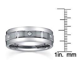 Men's Tungsten 1/6ct TDW Diamond Satin Spinner Band (8 mm)