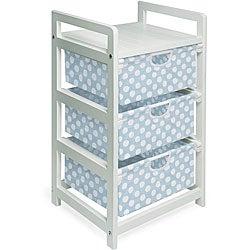 Three-drawer White with Blue Polka Dots Hamper/ Storage Unit