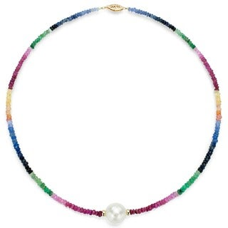 DaVonna 14k Gold White FW Pearl and Multi-gemstone Necklace (9-10 mm)