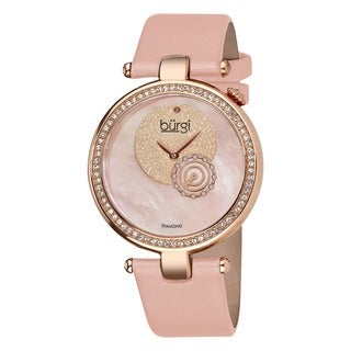 Burgi Women's Diamond-accented Pink Strap Watch