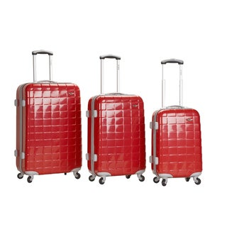 Rockland Elite Designer Red 3-piece Hardside Spinner Luggage Set