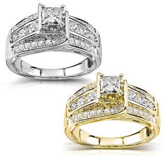 Annello 14k Gold 7/8ct TDW Princess Diamond Engagement Ring (H-I, I1-I2)