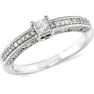 Miadora 10k White Gold 1/4ct TDW Princess Cut Diamond Ring (H-I, I2-I3)