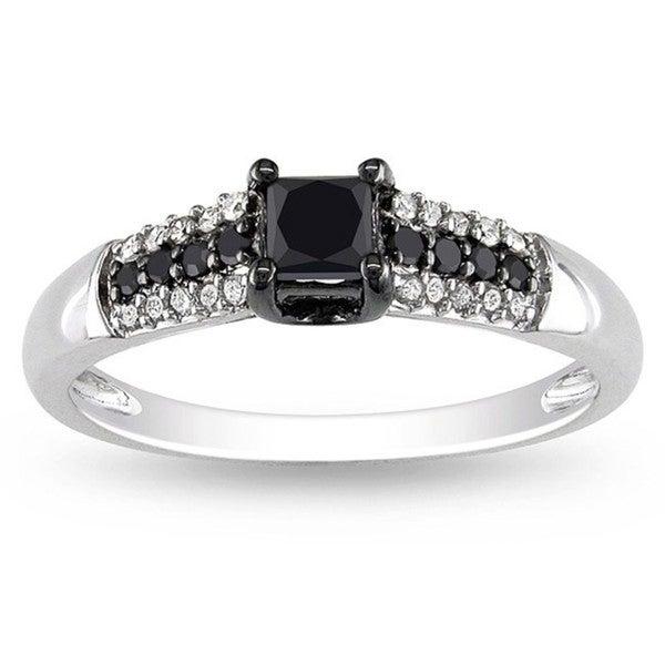 Miadora 10k Gold 1/2ct TDW Black and White Princess-cut Diamond Ring (H-I, I2-I3)