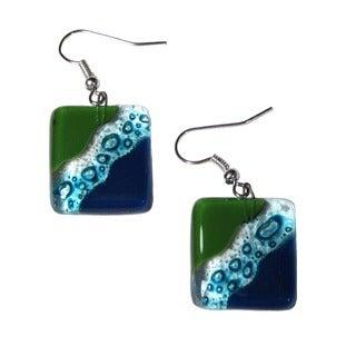 Fused Glass Ocean River Meadow Earrings (Chile)