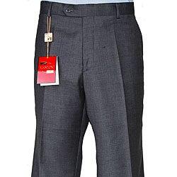 Men's Charcoal Grey Wool Flat-front Pants