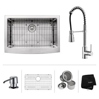 Kraus Kitchen Combo Set Stainless Steel 30-inch Farmhouse Sink with Faucet