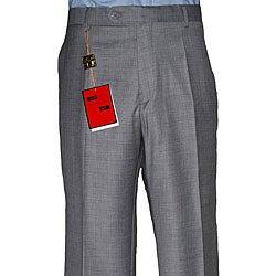 Men's Medium Grey Flat-front Wool Pants