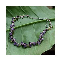 Pearl and Amethyst 'Tropical Elite' Strand Necklace (Thailand) (3-5 mm)