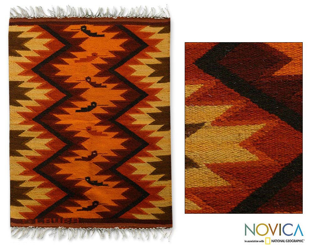 Peruvian 'Hummingbirds' Wool Rug (2' x 2'7)