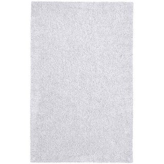 Hand-woven White Chenille Shag Rug (4' x 6')