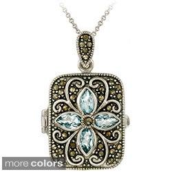 Glitzy Rocks Sterling Silver Gemstone and Marcasite Locket Necklace