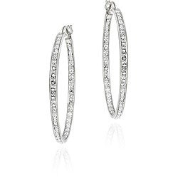 DB Designs Sterling Silver Diamond Accent Hoop Earrings