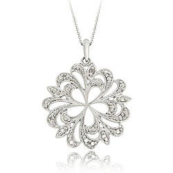DB Designs Sterling Silver Diamond Accent Swirl Flower Necklace
