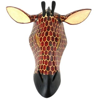 Hand-carved Wood African Giraffe Mask (Kenya)