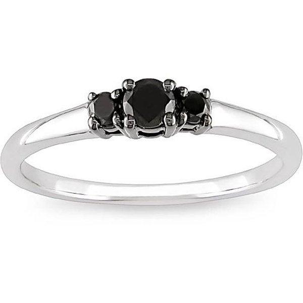 M by Miadora 10k White Gold 1/4ct TDW Black Diamond Three Stone Ring