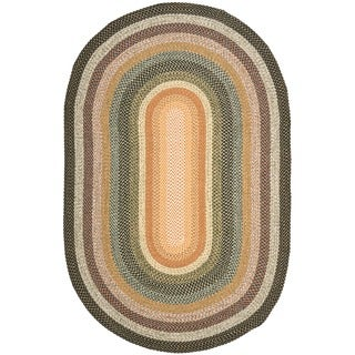 Safavieh Hand-woven Indoor/Outdoor Reversible Multicolor Braided Rug (8' x 10' Oval)