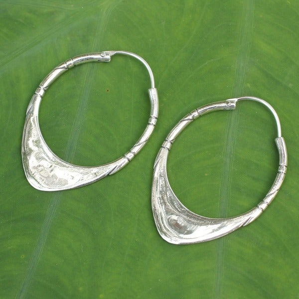 Sterling Silver 'Silver Boomerang' Hoop Earrings (Thailand)
