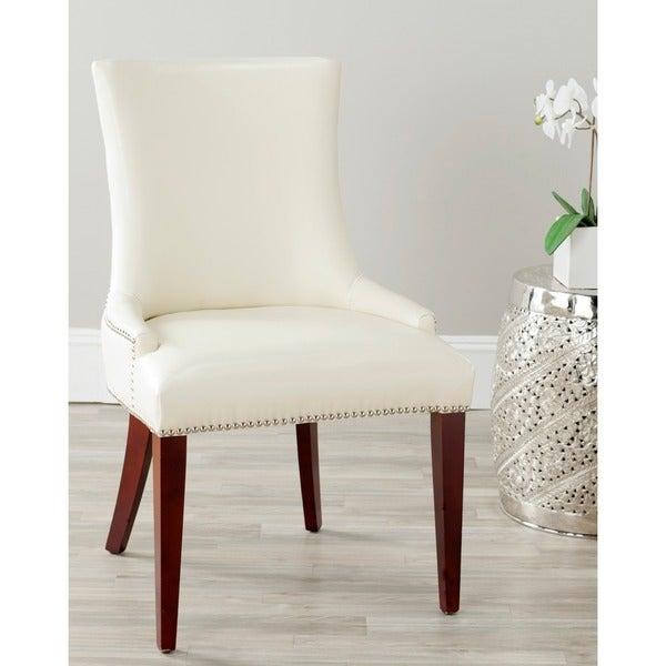 Safavieh Becca Cream Leather Dining Chair
