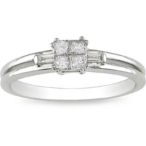 Miadora 10k White Gold 1/4ct TDW Diamond Ring (H-I, I1-I2)