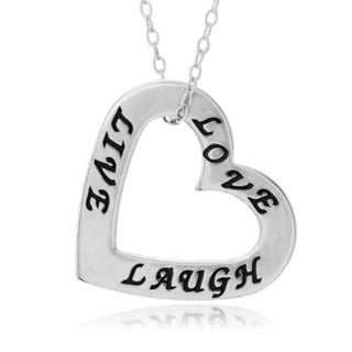 Journee Collection Sterling Silver 'Love Live Laugh' Heart Necklace