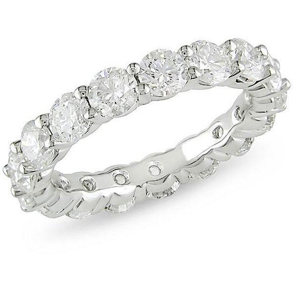 Miadora 18k White Gold 5ct TDW Diamond Eternity Ring (H-I, I1)
