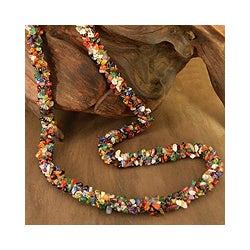 'Rainbow' Multi-gemstone Long Necklace (India)