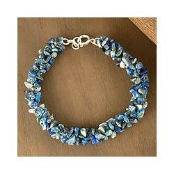 Sterling Silver 'Sea Song' Lapis Lazuli Beaded Bracelet (India)
