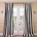 Signature Stripe Black/White Faux Silk Taffeta Curtain Panel