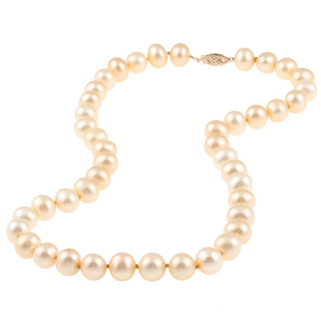 DaVonna 14k Gold Golden FW Pearl 16-inch Necklace (9-10 mm)