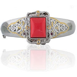 Michael Valitutti Sterling Silver Red Coral Bangle
