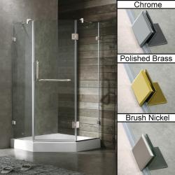 Vigo 40 x 40 Frameless Neo-angle Clear Shower Enclosure and White Base