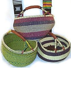 Set of 3 Straw Traditional Tribal Baskets (Ghana)