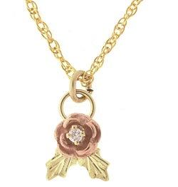 Black Hills Gold Diamond Rose Pendant