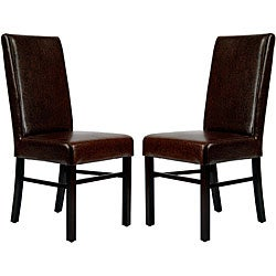 Safavieh Astor Brown Marbled Leather Side Chairs (Set of 2)