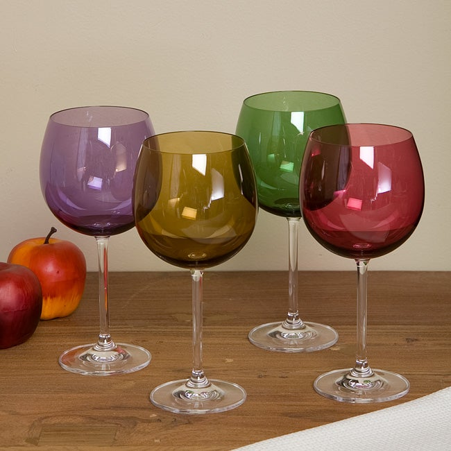 Lenox tuscany harvest balloon glasses set of 4 overstock shopping great deals on lenox - Lenox colored wine glasses ...