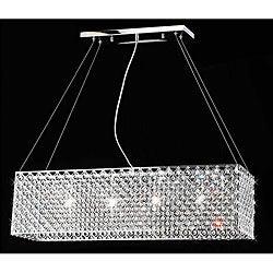 Chrome/ Crystal 4-light Rectangular Adjustable-height Chandelier