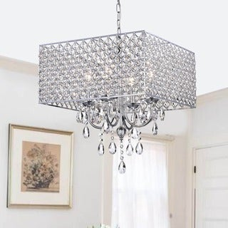 Chrome/ Crystal 4-light Square Chandelier