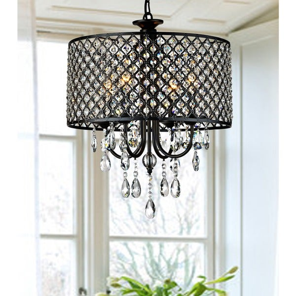 Antique Bronze 4-light Round Crystal Chandelier
