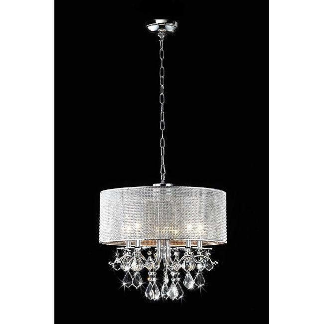 Silver Rhinestone Shade 5-light Round Crystal Chandelier