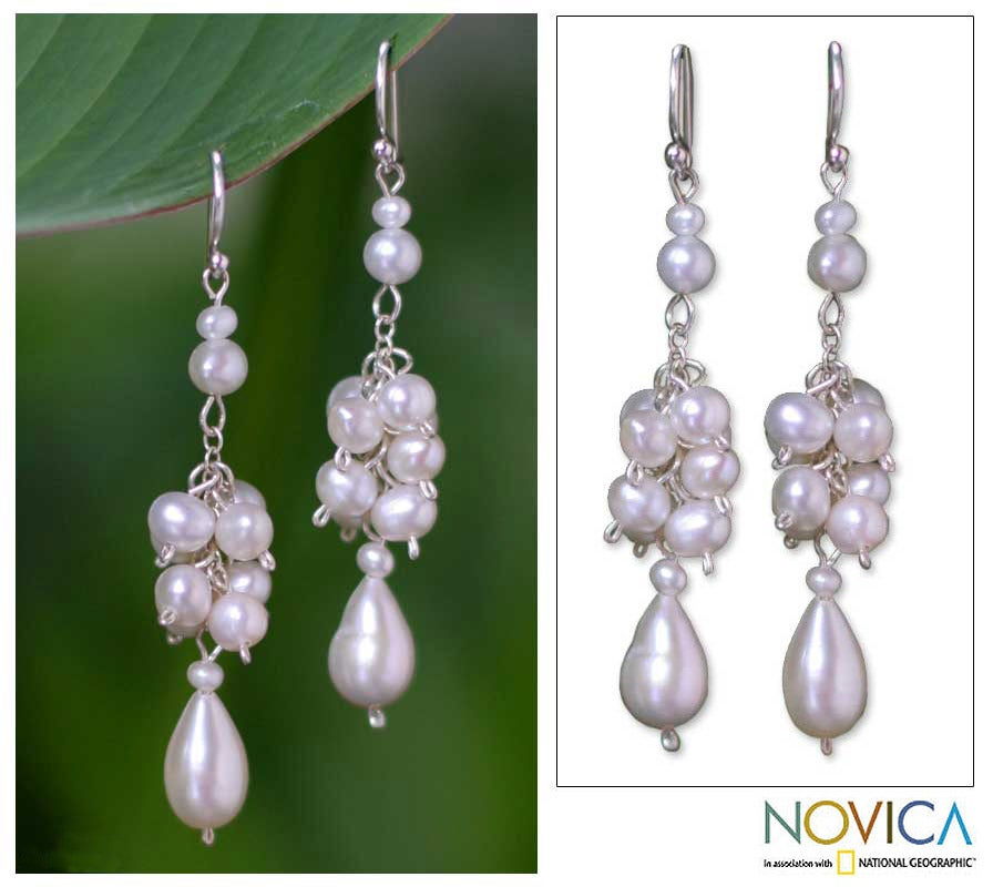 Sterling Silver 'Celebration' Pearl Cluster Hook Earrings (Thailand)